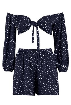 Navy Polka Dot Tie Front Shorts Co-ord Set