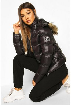 Black High Shine Hooded Padded Coat With Faux Fur Trim