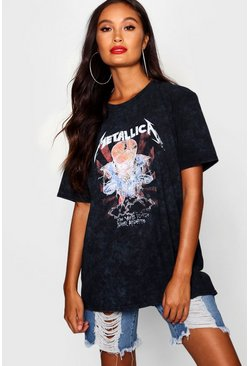 Black Metallica Washed Slogan T-Shirt
