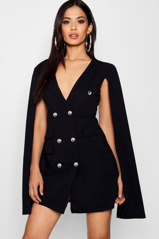 Zweireihiges Smoking-Kleid mit Cape-Ärmeln  boohoo