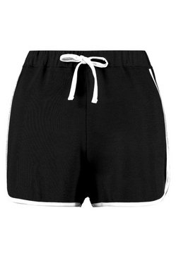 Black Basic Contrast Trim Runner Shorts