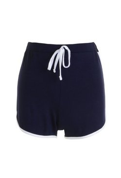 Navy Basic Contrast Trim Runner Shorts