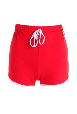 Red Basic Contrast Trim Runner Shorts