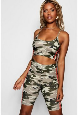 Camo Crop Top and Cycle Short Set