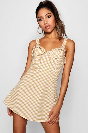 Mustard yellow Ruffle Shoulder Gingham Mini Dress