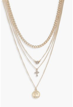 Gold metallic Coin Cross Diamante Layered Necklace