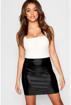 Black Bright Metallic Foil Mini Skirt