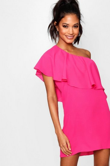 Hot pink pink Off The Shoulder Ruffle Detail Shift Dress