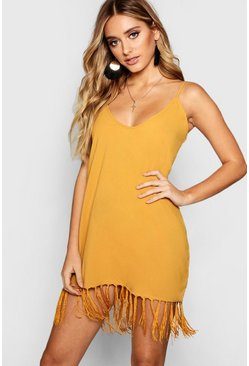 Desert sand orange Tassel Trim Bohemian Cami Slip Dress