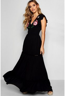 Black Embroidered Ruffle Hem Maxi Dress