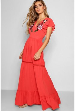 Coral pink Embroidered Ruffle Hem Maxi Dress