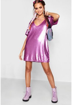 Lilac purple Plunge Front All Over Sequin Shift Dress