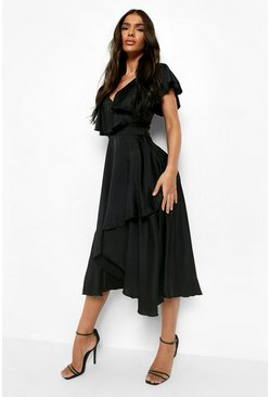 Black Satin Ruffle Wrap Detail Skater Dress