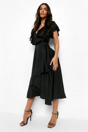 Black Satin Ruffle Wrap Detail Skater Dress