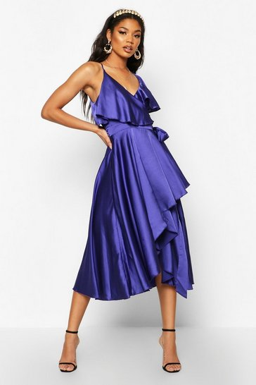 Cobalt blue Satin Ruffle Wrap Detail Skater Dress