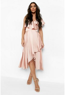 Rose pink Satin Ruffle Wrap Detail Skater Dress