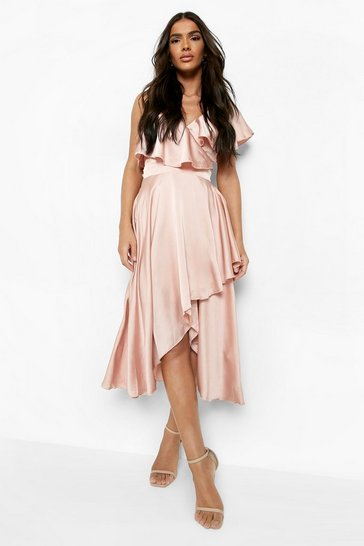 Rose pink Satin Ruffle Wrap Detail Skater Dress