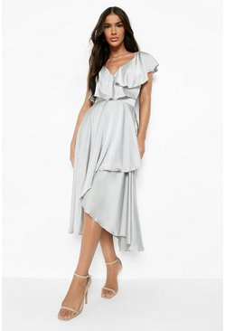 Silver Satin Ruffle Wrap Detail Skater Dress