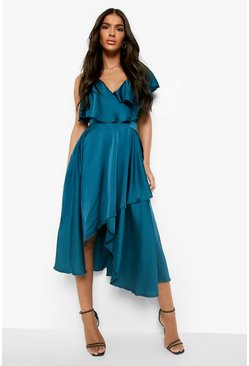 Teal green Satin Ruffle Wrap Detail Skater Dress