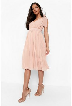 Blush pink Chiffon Pleated Midi Skater Bridesmaid Dress