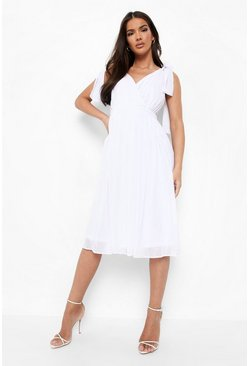 Ivory white Chiffon Pleated Midi Skater Bridesmaid Dress