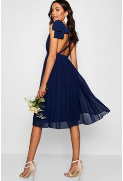 Navy Chiffon Pleated Midi Skater Bridesmaid Dress
