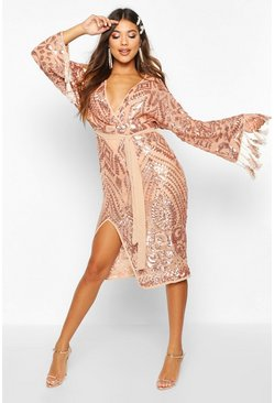 Gold metallic Sequin and Tassel Kimono Sleeve Midi Dress