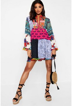 White Patchwork Print Tassel Detail Smock Dress