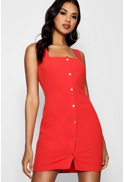 Tomato Popper Front Square Neck Bodycon Dress