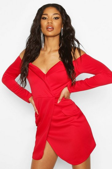 Red Off the Shoulder Blazer Bodycon Dress