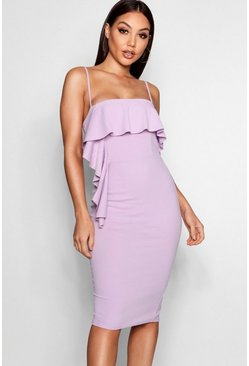 Waterfall Frill Detail Midi Dress, Lilac Фиолетовый