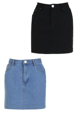 Multi 2 Pack Micro Mini Denim Skirt