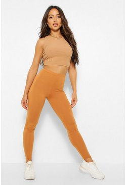 Camel Basic Deep High Waist Leggings