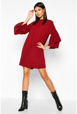 Berry red Volume Sleeve Woven Shift Dress