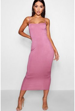 Rose pink Jersey Square Neck Midaxi Dress