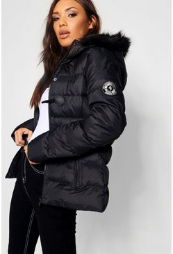 Black Short Quilted Bubble Jacket