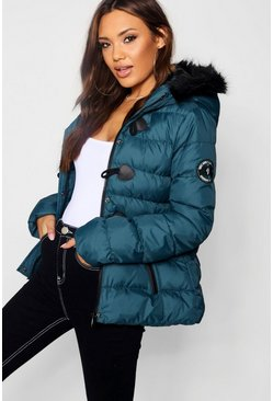 Teal Short Quilted Bubble Jacket
