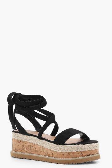 Black Flatform Espadrille Tie Up Sandals