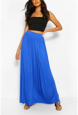 Horizon blue blue Basic Floor Sweeping Maxi Skirt