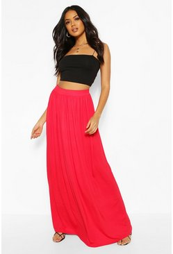 Red Basic Floor Sweeping Maxi Skirt