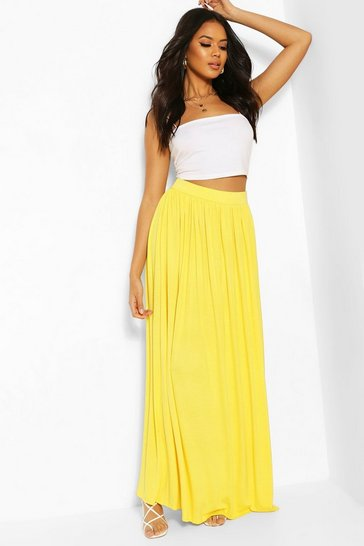 Yellow Basic Floor Sweeping Maxi Skirt