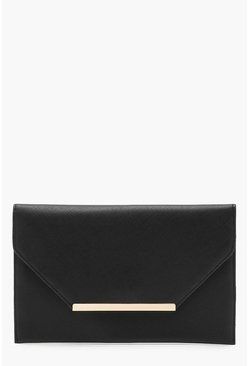 Black Crosshatch Clutch Bag