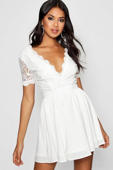 Ivory white Lace Top Skater Dress