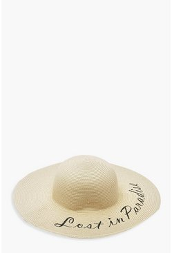 Natural beige Lost In Paradise Slogan Straw Floppy Hat