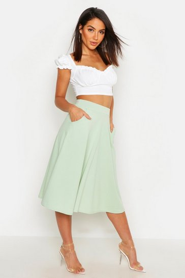 Sage green Pocket Front Crepe Skater Midi Skirt
