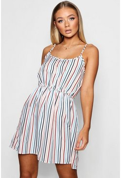White Gillian Stripe Print Strappy Sundress