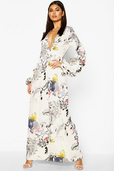 White Mimi V Neck Rouched Sleeve Floral Maxi Dress
