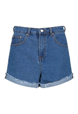 Blue High Waist Denim Mom Shorts