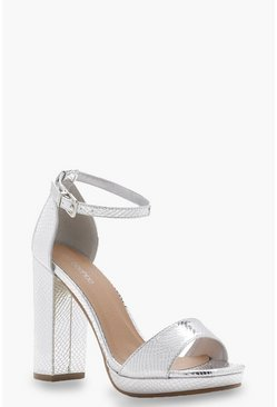 Silver Wide Fit Snake Metallic Platform Heels