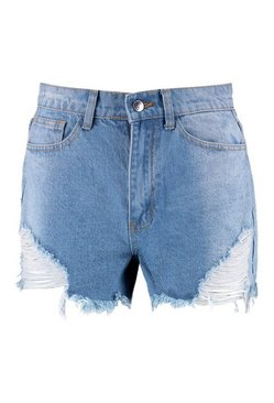 Mid blue Angled Distressed Denim Mom Shorts